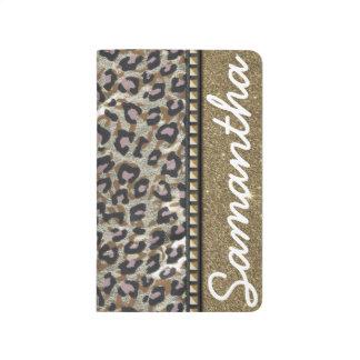 Gold Glitter and Leopard Monogram Journal