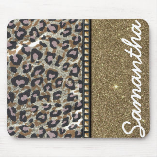 Gold Glitter and Leopard Monogram Mouse Pad