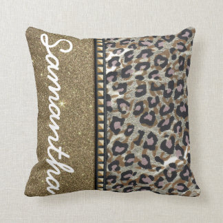 Gold Glitter and Leopard Monogram Throw Pillow