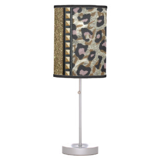 Gold Glitter and Leopard Print with Gold Studs Table Lamp