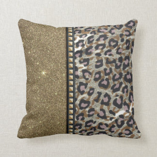 Gold Glitter and Leopard Print with Gold Studs Throw Pillow