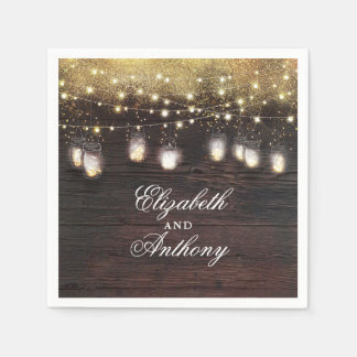 Gold Glitter and Mason Jar Lights Rustic Paper Napkin