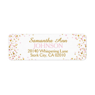 Gold Glitter and Pink Dot Sprinkles Label