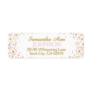 Gold Glitter and Pink Dot Sprinkles Label