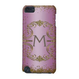 Gold Glitter and Pink Monogram iPod Touch (5th Generation) Cover