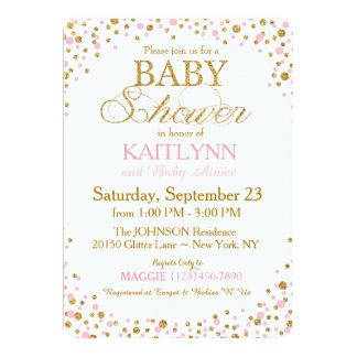 Gold Glitter and Pink Sprinkle Baby Shower Card