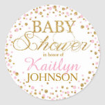 Gold Glitter and Pink Sprinkle Baby Shower Label Classic Round Sticker