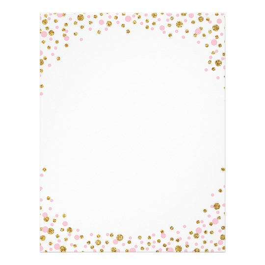 Gold Glitter and Pink Sprinkle Confetti Letterhead ...