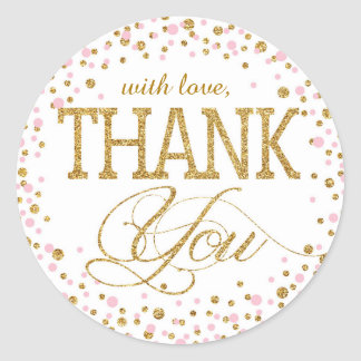 Gold Glitter and Pink Sprinkle Thank You Label Classic Round Sticker