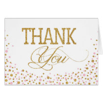 Gold Glitter and Pink Sprinkles Thank You Card