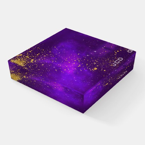 Gold Glitter and Purple Galaxy Paperweight