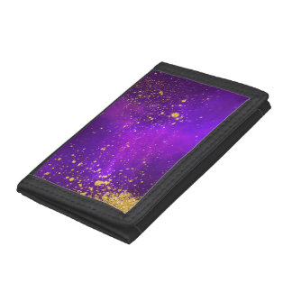 Gold Glitter and Purple Galaxy Wallet