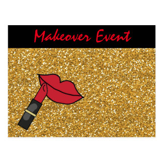 Gold Glitter and Red Lips and Lipstick Postcard