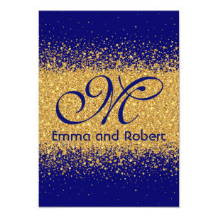 Royal Blue And Gold Wedding Invitations Zazzle