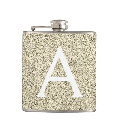 Gold Glitter and Sparkle Monogram Initial Flask