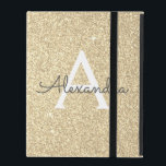 """Gold Glitter and Sparkle Monogram iPad Case<br><div class=""""desc"""">Gold Faux Glitter and Sparkle Elegant Monogram Case. This case can be customized to include your initial and first name.</div>"""