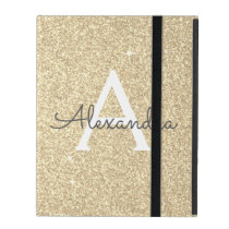 Gold Glitter and Sparkle Monogram iPad Case