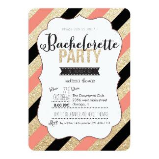 Gold Glitter and Stripes Bachelorette Invitation