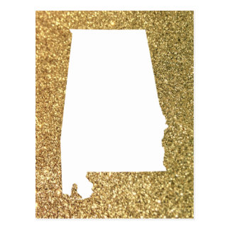 Gold Glitter and White Alabama Postcard