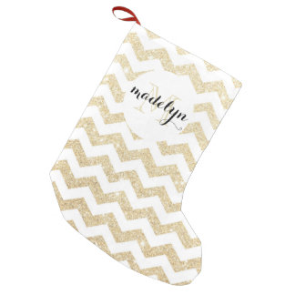 Gold Glitter and White Chevron Monogram Stocking