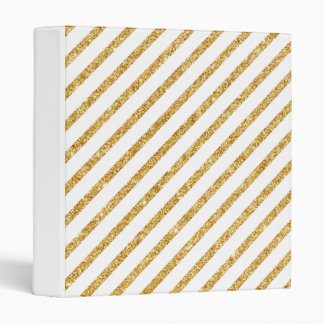 Gold Glitter and White Diagonal Stripes Pattern 3 Ring Binder
