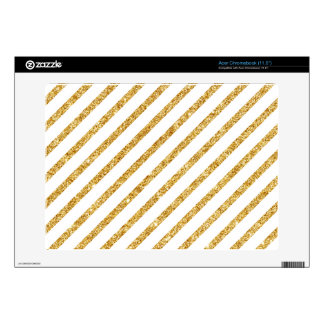 Gold Glitter and White Diagonal Stripes Pattern Acer Chromebook Decal