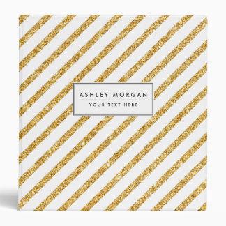 Gold Glitter and White Diagonal Stripes Pattern Binder