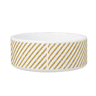 Gold Glitter and White Diagonal Stripes Pattern Bowl