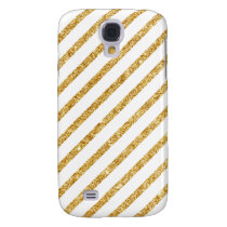 Gold Glitter and White Diagonal Stripes Pattern Galaxy S4 Cover