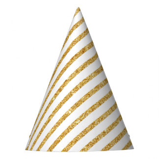 Gold Glitter and White Diagonal Stripes Pattern Party Hat