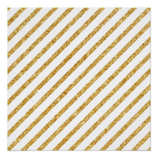 Gold Glitter and White Diagonal Stripes Pattern Poster