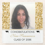 Gold Glitter And White Sparks- Graduations Glass Coaster