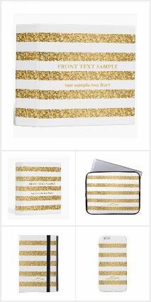 Gold Glitter And White Stripes