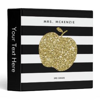Gold Glitter Apple Black Stripes | Teacher Binder