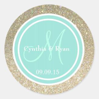 Gold Glitter & Aqua Wedding Monogram Seal