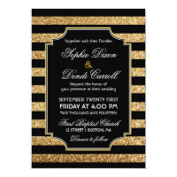 Gold Glitter Art Deco 1920s Wedding Invitation