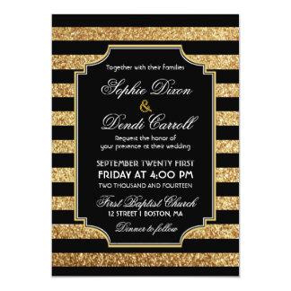 """Gold Glitter Art Deco 1920s Wedding Invitation 5"""" X 7"""" Invitation Card"""