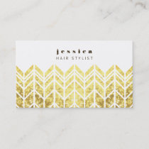 Gold Glitter Aztec Arrow Pattern Hair Stylist Card