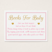 Gold Glitter Baby Shower Book Request Cards