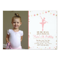 Gold Glitter Ballet Dance Birthday Invitation