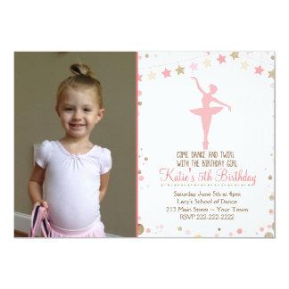 Gold Glitter Ballet Dance Birthday Invitation