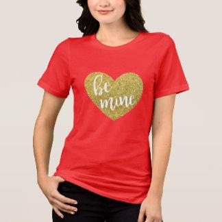 Gold Glitter Be Mine Heart Valentine Shirt