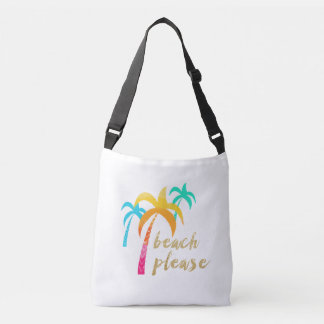 """gold glitter """"beach please"""" with colorful palms crossbody bag"""