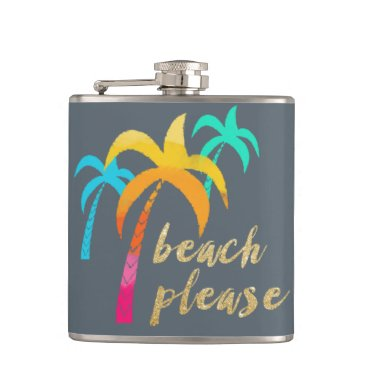 "Beach Themed gold glitter ""beach please"" with colorful palms flask"