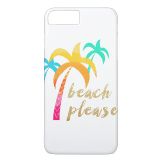 "gold glitter ""beach please"" with colorful palms iPhone 8 plus/7 plus case"