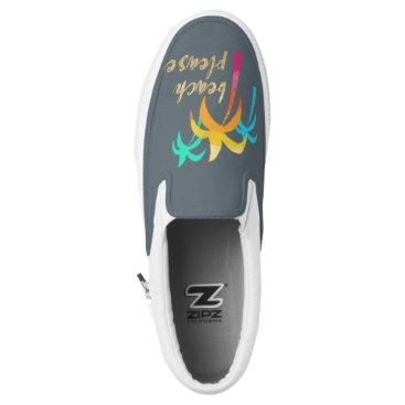 "Beach Themed gold glitter ""beach please"" with colorful palms Slip-On sneakers"