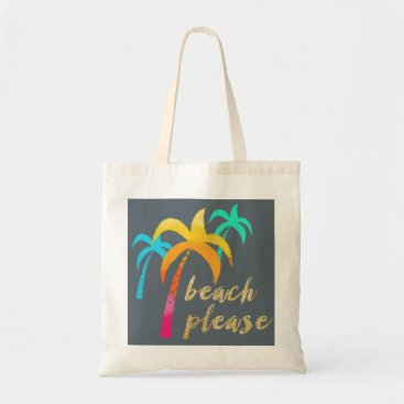 """Beach Themed gold glitter """"beach please"""" with colorful palms tote bag"""