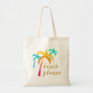 """gold glitter """"beach please"""" with colorful palms tote bag"""