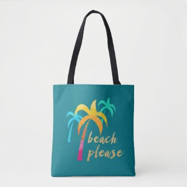 "Beach Themed gold glitter ""beach please"" with colorful palms tote bag"