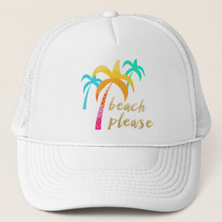 """gold glitter """"beach please"""" with colorful palms trucker hat"""